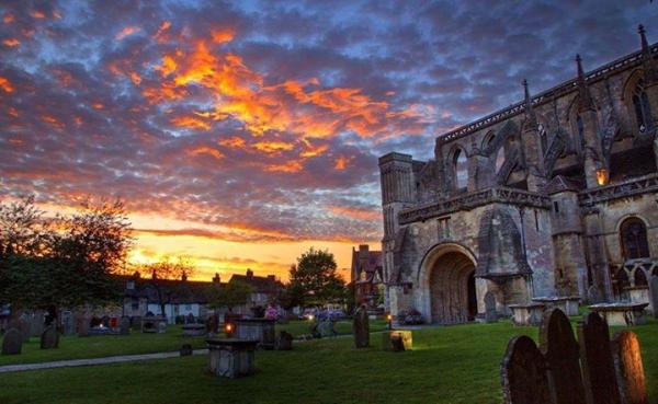 Malmesbury Abbey at Sunset