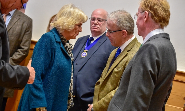 Keith Maslin owner of Blount and Maslin estate agents meets Duchess of Cornwall at Malmesbury Museum opening
